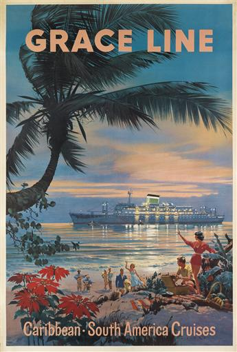 CARL G. EVERS (1907-1983). GRACE LINE / CARIBBEAN • SOUTH AMERICA CRUISES. Circa 1960. 42x28 inches, 107x71 cm.