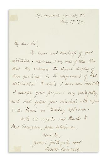 BROWNING, ROBERT. Autograph Letter Signed, to My dear Sir,
