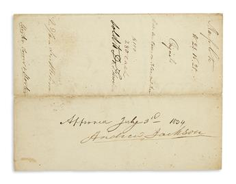 JACKSON, ANDREW. Endorsement Signed, as President, approving the sale of a Creek Nation Indians land, on a partly-printed document