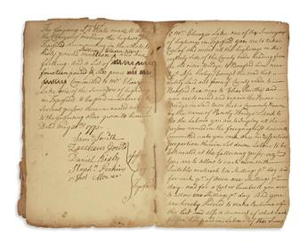 (MORMONS.) Manuscript notebook signed twice by Joseph Smiths great-grandfather Samuel Smith.