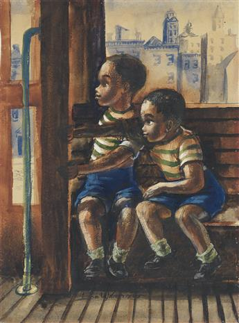 JOHN WILSON (1912 - 2015) Untitled (Two Boys in a Streetcar).