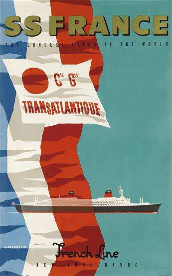 JEAN JACQUELIN (1905-1989). SS FRANCE / FRENCH LINE. Circa 1960. 39x24 inches, 99x61 cm. Hubert Baille, Paris.