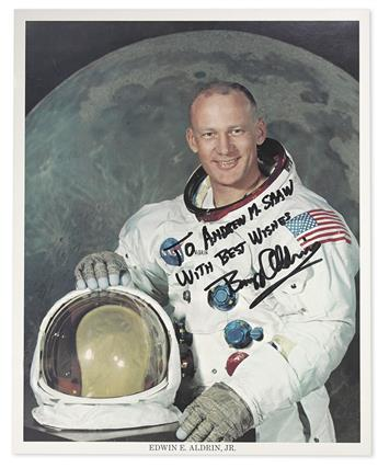 (ASTRONAUTS.) ALDRIN, BUZZ. Photograph Signed and Inscribed, To Andrew M. Shaw / With Best Wishes,