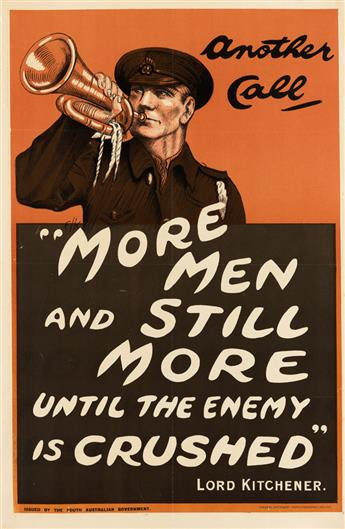 E.L.K. (MONOGRAM UNKNOWN). ANOTHER CALL / MORE MEN AND STILL MORE UNTIL THE ENEMY IS CRUSHED. 30x19 inches, 76x49 cm. A. Vaughan, Ade