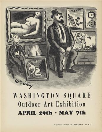 WILLIAM STEIG (1907-2003). WASHINGTON SQUARE / OUTDOOR ART EXHIBITION. 1933. 13x10 inches, 33x25 cm. Exploitation Printers, New York.