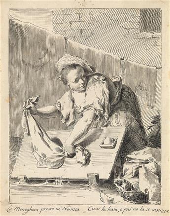 PIETRO ANTONIO NOVELLI (Venice 1729-1804 Venice) A Young Woman Washing Linen.