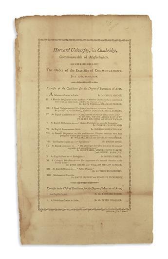 (MASSACHUSETTS.) Harvard University . . . The Order of the Exercises of Commencement.