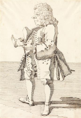 PIER LEONE GHEZZI (Rome 1674-1755 Rome) Chevalier Castellano.