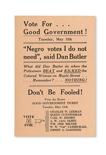 """(CIVIL RIGHTS--POLITICS.) BUTLER, DAN. Vote for Good Government. . . """"Negro Votes I Don't Need,"""" said Dan Butler . . . Don't be Fooled!"""