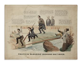 (PRINTS--CARTOONS.) Political Blondins Crossing Salt River.