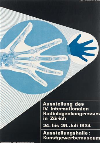 WALTER KÄCH (1901-1970). AUSSTELLUNG DES IV. INTERNATIONALEN RADIOLOGENKONGRESSES. 1934. 50x35 inches, 129x89 cm. Gebr. Fretz, Zurich.