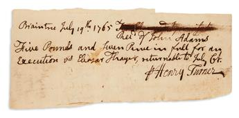 ADAMS, JOHN. Two Autograph Documents Signed, in the third person within the text, receipts, each concerning payment for services in var