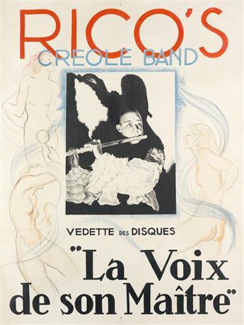 DESIGNER UNKNOWN. RICOS CREOLE BAND / LA VOIX DE SON MAÎTRE. Circa 1935. 63x47 inches, 160x120 cm.