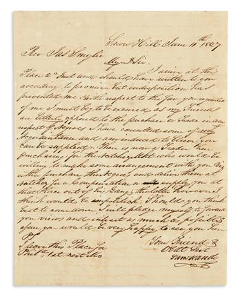 (SLAVERY AND ABOLITION.) Handy, Samuel. Letter arranging for a large shipment of enslaved people from Maryland to Mississippi.