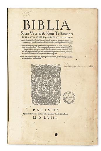 BIBLE IN LATIN.  Biblia Sacra Veteris & Novi Testamenti iuxta vulgatam . . . editionem.  1558