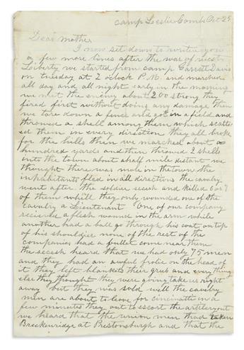(CIVIL WAR--OHIO.) Hebron, John L. Letter describing his regiment's first skirmish.