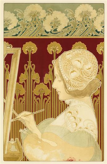 PRIVAT ANTOINE THEODORE LIVEMONT (1861-1936). [THE SCULPTRESS] / [THE PAINTER.] Two decorative panels. 1901. Each 20x13 inches, 52x35 c