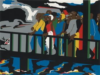 JACOB LAWRENCE (1917 - 2000) Confrontation on the Bridge.