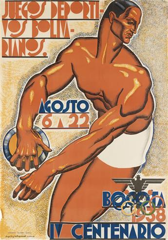 SERGIO TRUJILLO MAGNENAT (1911-1999). BOGOTA 1938 / IV CENTENARIO / JUEGOS DEPORTIVOS BOLIVARIANOS. 1938. 39x27 inches, 99x70 cm. Litog