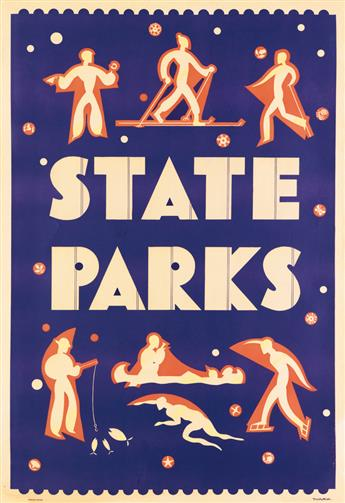 DOROTHY WAUGH (1896-1996). STATE PARKS. Circa 1934. 39x27 inches, 101x68 cm. U.S. Government Printing Office, [Washington, D.C.]