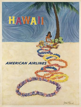 JOHN FEHMIL (DATES UNKNOWN). HAWAII / AMERICAN AIRLINES. 39x30 inches, 99x76 cm.