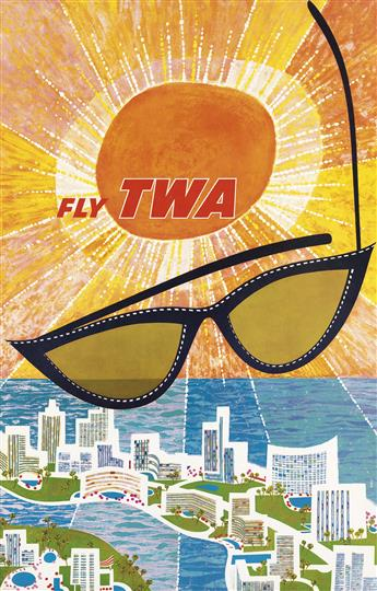 DAVID KLEIN (1918-2005). FLY TWA / [FLORIDA.] Circa 1960. 39x25 inches, 101x62 cm.