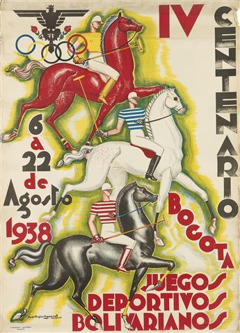 SERGIO TRUJILLO MAGNENAT (1911-1999). BOGOTA 1938 / IV CENTENARIO / JUEGOS DEPORTIVOS BOLIVARIANOS. 1938. 39x28 inches, 99x71 cm. Litog