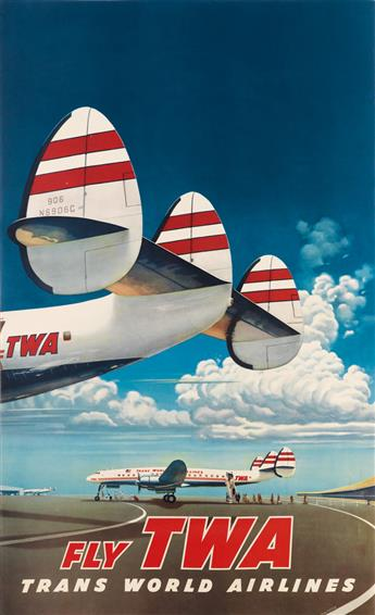 FRANK SOLTESZ (1912-1998). FLY TWA / TRANS WORLD AIRLINES. 1952. 40x24 inches, 108x62 cm.