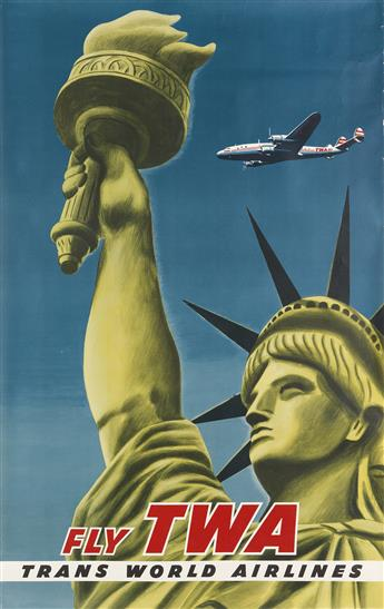 DESIGNER UNKNOWN. FLY TWA / TRANS WORLD AIRLINES / [NEW YORK.] 39x24 inches, 101x63 cm.