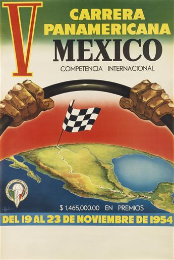 AGUILAR (DATES UNKNOWN). V CARRERA PANAMERICANA / MEXICO. 1954. 34x23 inches, 86x58 cm. Lito. Juventud, Mexico.