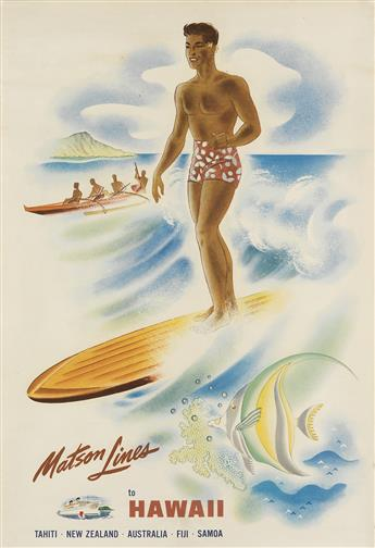 FRANK MCINTOSH (DATES UNKNOWN). MATSON LINES TO HAWAII. Circa 1940. 30x20 inches, 76x50 cm.