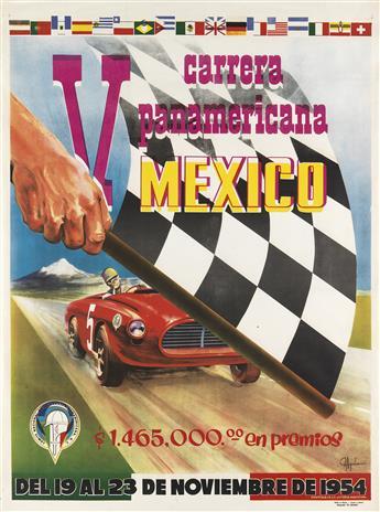 AGUILAR (DATES UNKNOWN). V CARRERA PANAMERICANA / MEXICO. 1954. 36x27 inches, 92x68 cm. El Cromo, Mexico.