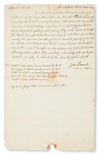 (SLAVERY AND ABOLITION.) [THOMAS JEFFERSON] PARRISH, JOHN. Autograph Letter Signed to William Jones.