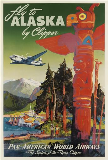 MARK VON ARENBURG (DATES UNKNOWN). FLY TO ALASKA BY CLIPPER / PAN AMERICAN WORLD AIRWAYS. Circa 1950. 42x28 inches, 106x72 cm.