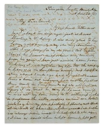 (CIVIL WAR--CONFEDERATE.) Battle, William D. Alabama merchants letter on his sons exploits and the effects of war on business.