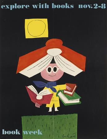 PAUL RAND (1914-1996). EXPLORE WITH BOOKS / BOOK WEEK. 1958. 22x17 inches, 56x43 cm.