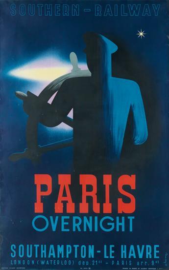 LAJOS MARTON (1891-1952). SOUTHERN - RAILWAY / PARIS OVERNIGHT. 1938. 39x24 inches, 99x61 cm. Alliance Graphique, Paris.