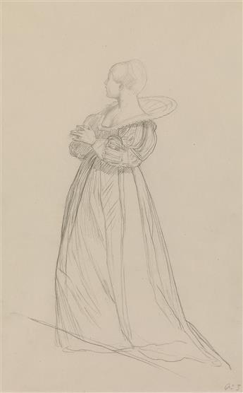 JEAN-LÉON GÉRÔME (Vesoul 1824-1904 Paris) A Woman Standing in Profile.