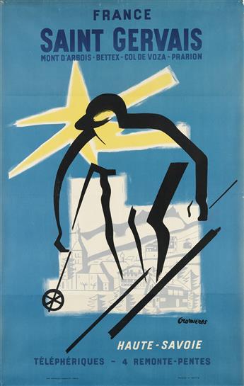 HUGUETTE CROMIÈRES (1920-?). FRANCE / SAINT GERVAIS. Circa 1950s. 39x25 inches, 99x63 cm. Watelet-Arbelot, Paris.
