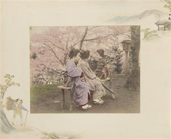 (JAPAN) Red lacquer album with 50 hand-colored photographs of colorful geishas, street tradesmen, mountainous landscapes, flowering lil