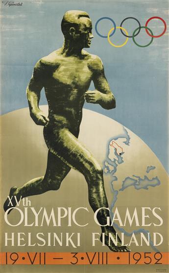 ILMARI SYSIMETSÃ (1912-1955). XVTH OLYMPIC GAMES / HELSINKI FINLAND. 1952. 39x24 inches, 99x62 cm. Oy. Tilgmann AB, [Helsinki.]