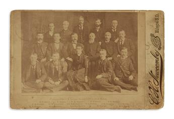 (WEST.) Newcombe, C.H. Cabinet card group portrait of the Surveyor Generals Office staff in South Dakota.