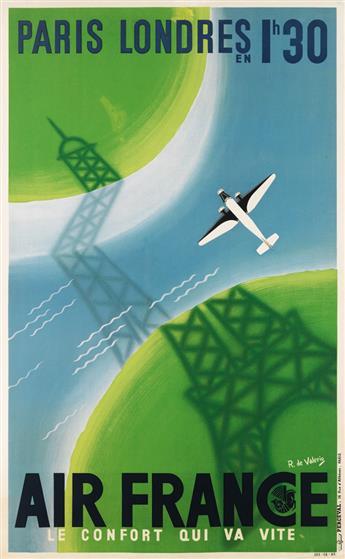 ROGER DE VALERIO (1896-1951). AIR FRANCE / LE CONFORT QUI VA VITE. 1936. 38x24 inches, 98x61 cm. Perceval, Paris.