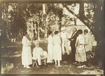 (EDISON, THOMAS.) Group of 26 snapshots of Thomas Edison, Henry Ford, Harvey Firestone, and John Burroughs on vacation.