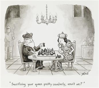 TOM TORO. (THE NEW YORKER / CARTOONS / CHESS) Sacrificing your queen pretty cavalierly, arent we?