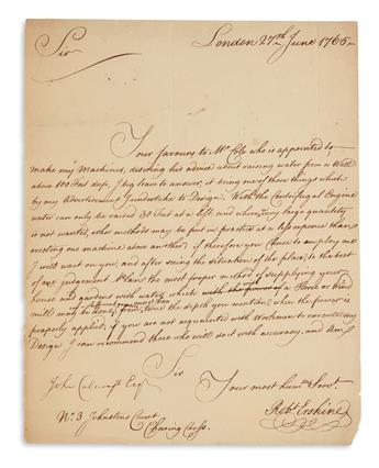 ROBERT ERSKINE. Autograph Letter Signed, RobtErskine, to John Calecroft, offering to design a water pump for...