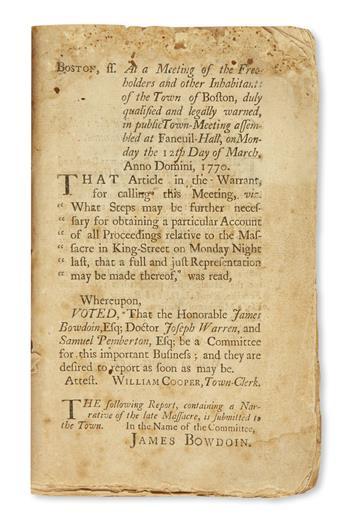 (AMERICAN REVOLUTION--PRELUDE.) A Short Narrative of the Horrid Massacre in Boston.