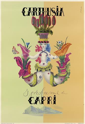MARIO LABOCCETTA (1899-1988). CARTHUSIA / I PROFUMI DI / CAPRI. 1952. 38x26 inches, 98x67 cm. Arti Grafiche Di Mauro-Cava, Italy.