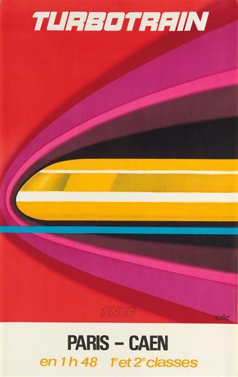 ERIC (RAOUL ERIC CASTEL, 1915-1997). TURBOTRAIN / PARIS - CAEN. 1972. 39x24 inches, 99x62 cm.