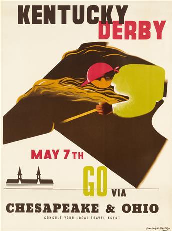EDWARD MCKNIGHT KAUFFER (1890-1954). KENTUCKY DERBY / GO VIA CHESAPEAKE & OHIO. 1949. 37x27 inches, 94x70 cm.